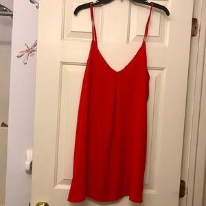 Bright red chiffon dress